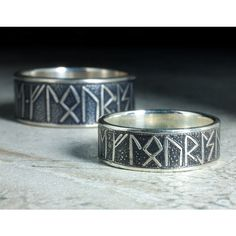 Matching Silver Rune Rings with custom message Unique Viking Wedding... ($625) ❤ liked on Polyvore featuring jewelry, rings, wedding rings jewelry, silver wedding rings, silver jewellery, wedding band jewelry and etched jewelry