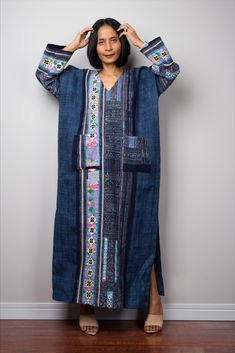 Cover up with vintage hill tribe fabric detail Sleeveless Cardigan Cotton Hemp duster vest