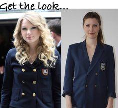 Vous aimez le veston écolier de Taylor Swift | Mlle Frivole Blazer, Get The Look, Taylor Swift, How To Make Money, Simple, Coat, Clothing, Jackets, Fashion