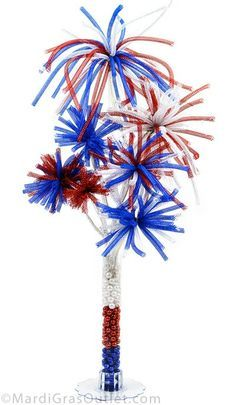 Fourth of July: USA fireworks centerpiece; red, white, & blue- a patriotic holiday decor tutorial