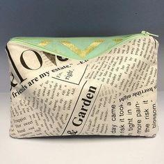 Newsprint Small Clutch with Mint and Gold Chevron by  #LoveofPattern #newitem #etsyfind #newsprint #mint #gold #clutch
