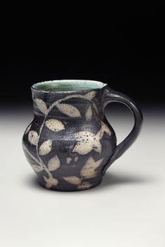 Michael Kline, Mug, 2015, thrown NC native clay, wax resist brushwork, 4''