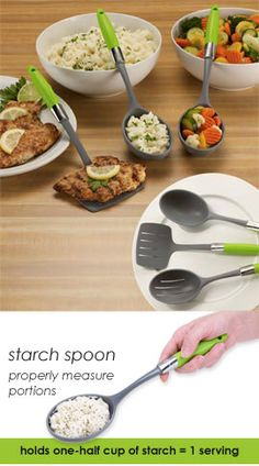 Portion-control serving utensils for starch, veggies, and protein. $15 for the set. REALLY good idea. This would probably help me a lot!