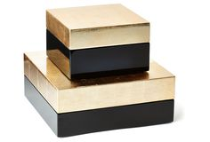 These would be great on my coffee table for small things, or on my dresser for jewelry! One Kings Lane - Perk Up the Place - Black & Gold Boxes, Asst. of 2
