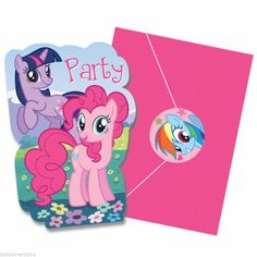 8 Magic Pink My Little Pony Birthday Party Invitations Invites plus Envelopes