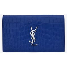Classic Monogram Saint Laurent Clutch (4.930 RON) ❤ liked on Polyvore featuring bags, handbags, clutches, purses, yves saint laurent, monogrammed purses, blue handbags, blue clutches and monogrammed clutches
