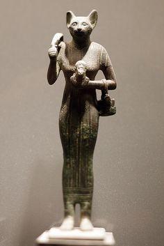 Bastet - Solid cast bronze statue of the cat goddess, Egypt 664-332 BC. (Musée du Louvre)