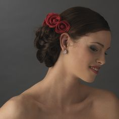 Red Tea Rose Cluster Wedding Hair Combs for your bridesmaids! affordableelegancebridal.com