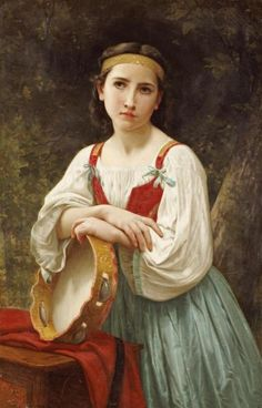 William Adolphe Bouguereau, Basque Gipsy Girl With Tambourine