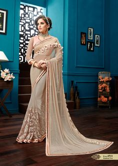 Party Wear Designer Beige Color Embroidered Saree After placed order you should submit Measurement Here