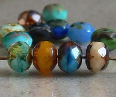 Marbled  Opaque Mix Picasso Czech Glass Beads 6x8mm by simplypie