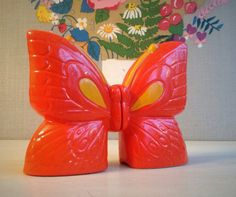 Vintage Ceramic Butterfly Salt and Pepper Shakers.    Misinterpreted on Etsy