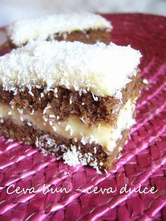 Adela Zilahi: Prajitura cu crema de budinca si cocos Sweets Recipes, Cake Recipes, Romanian Desserts, Croatian Recipes, Vanilla Cake, Caramel, Deserts, Food And Drink, Yummy Food