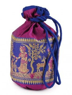 Multi-Color Handloom Silk Potli  10.5in x  7in