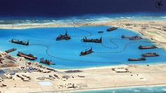 Chinese construction at Fiery Cross Reef in the disputed Spratly Islands in the South China Sea - EPA