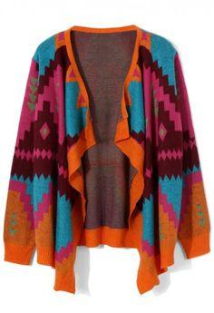 Neon Geometric Knit Drape Cardigan