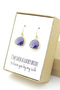 Huge discount Bridesmaid Earrings Purple earrings by ForTheMaids