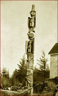 Chief Shakes totem (featuring a Raven), Wrangell, Alaska, c. 1898. A RAVEN is known as  transformer, trickster, hero, creator and is the other of the two main crests of the Haida. Legends credit Raven with, among other things, releasing the Sun and Moon, bringing water and fish and, according to the Haida, discovering mankind in a clamshell.