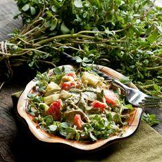 Purslane Tomato Cucumber Salad #raw #recipe #vegan