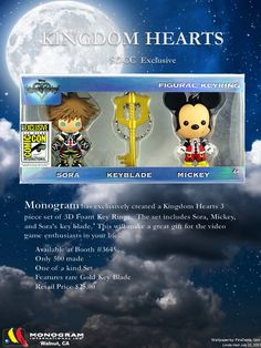 SDCC 2017 San Diego Comic Con Monogram Disney Kingdom Hearts 6 PC Lapel Pin Set