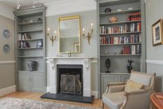 wall sconces and mirror above fireplace, built in alcove cabinets either side – fantastic room avesome Living Room Shelves, Alcove Ideas Living Room, Alcove Cabinets, Alcove Shelving, Living Dining Room, Living Room Designs, New Living Room, Fireplace Built Ins, Victorian Living Room