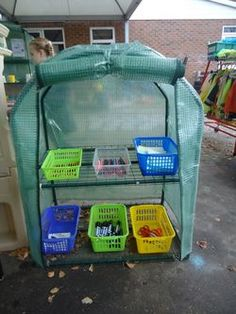Good idea for cheap outside storage. Forest School Activities, Eyfs Activities, Outdoor Activities, Outdoor Classroom, Outdoor School, Classroom Ideas, Outdoor Fun For Kids, Outdoor Play, Outdoor Areas