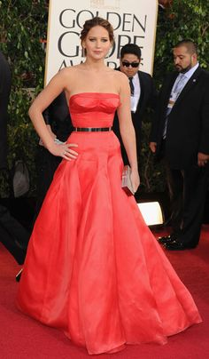 Jennifer Lawrence goes for a classic silhouette in Dior Couture at the 2013 Golden Globes