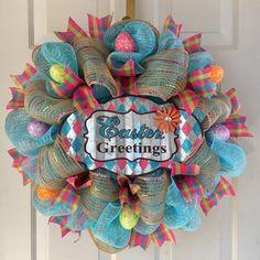 """Easter Greetings"" Light Blue Metallic Deco Mesh Wreath With Easter Eggs | eBay"