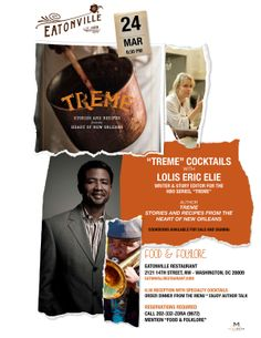 """Experience """"Treme"""" with Lolis Eric Elie at Eatonville Restaurant, Monday, March 24 at 6:30 PM.  Washington, DC.  """"Treme"""" cookbooks will be available for sale and signing.  Read an interview with Lolis:  http://www.eclectique916.com/2014/03/15/eclectique-interview-lolis-eric-elie-treme-the-show-the-cookbook-the-food/"""