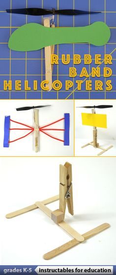 The rubberband-powered helicopter is easy to construct, and with a little practice it can be flown 20+ feet into the air!
