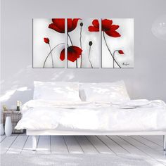 'Flowers' Hand-painted Oil on Canvas Art Set ($122) ❤ liked on Polyvore featuring home, home decor, wall art, red, red canvas wall art, oil painting, oversized wall art, red flower wall art and flower stem