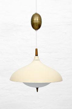 Hans-Agne Jakobsson; Brass, Enameled Metal and Wood Ceiling Light, 1960s.
