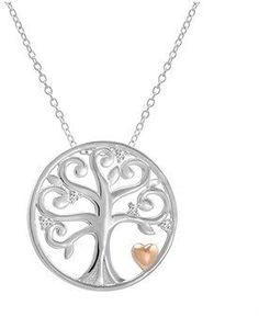 baa1d08c2b5 Amanda Rose Collection Sterling Silver Diamond Accented Tree Of Life Pendant -Necklace