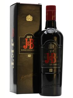 A bottle of the now-discontinued J&B Jet. A blend of 32 whiskies, all of which are at least 12 years old.