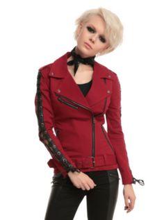 Joan Jett Tripp NYC Red Twill Moto Jacket