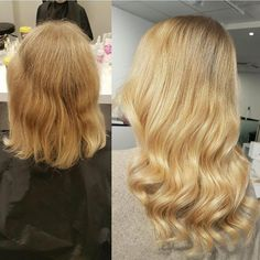 """Makeover featuring our shortest tape extensions in 30 cm/12"""" ✨ Perf when adding volume, or for a subtle upgrade on short/mid length hairstyles. Featured in this look: Quick & Easy European 30 cm/12"""" 6 packets Scandinavian Blond #18/60 Honey Blond #22 Styled by Anna @rapunzeluppsala #rapunzelofsweden #rapunzeluppsala #hairextensions #beforeafter #beforeandafter #behindthechair"""