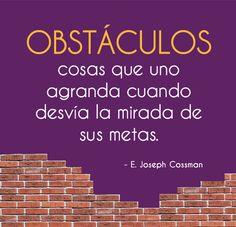 Obstáculos, cosas que uno agranda cuando desvía la mirada de sus metas... | E. Joseph Cossman