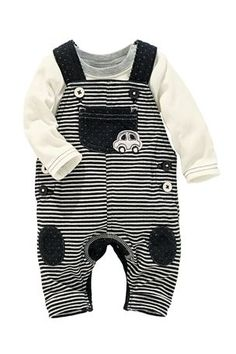 Buy Stripe Car Dungarees With Bodysuit (0-18mths) from the Next UK online shop