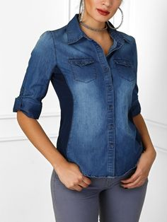 Roll-Up Sleeve Casual Denim Blouse Denim Button Up, Button Up Shirts, Denim Blouse, Roll Up Sleeves, Pattern Fashion, Sleeve Styles, Blouses, Long Sleeve, Casual
