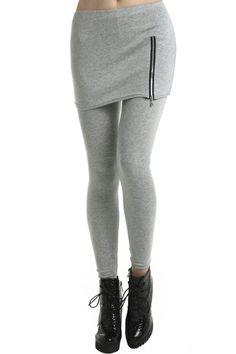 1de72eabd81 Zippered Light-grey Skirted Leggings. Description Light-grey leggings