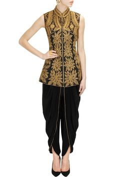 J by Jannat presents Black dori embroidered peplum jacket with dhoti pants available only at Pernia's Pop-Up Shop. Indian Attire, Indian Wear, Salwar Kameez, Patiala, Indian Dresses, Indian Outfits, Look Short, Desi Wear, Western Outfits