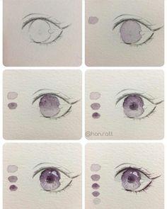 Drawing For Beginners - Eye Drawing Tutorials, Watercolour Tutorials, Drawing Techniques, Art Tutorials, Manga Eyes, Anime Eyes, Anime Drawings Sketches, Cool Drawings, Watercolor Eyes