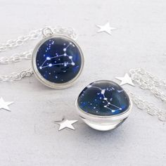 Zodiac Sphere Necklace - Your choice of constellation or zodiac sign on either side
