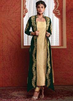Amazing Green And Cream Zari Work Designer Suit