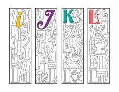 Make reading fun with this awesome set of monogram alphabet printable bookmark coloring pages, which are available in my shop, or in my Etsy shop: DJPenscript. These printable bookmarks m… Alphabet A, Preschool Alphabet, Alphabet Crafts, Bookmarks Kids, How To Make Bookmarks, Printable Bookmarks, Colouring Pages, Printable Coloring Pages, Monogramm Alphabet
