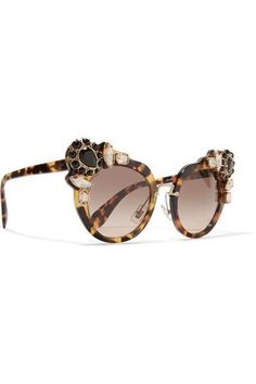 97dd80e061 Miu Miu - Crystal-embellished Cat-eye Acetate Sunglasses - Tortoiseshell  Tortoise Shell