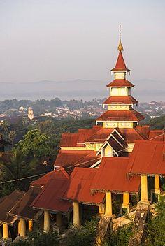 Kyaik Tan Lan Pagoda, the hill top temple in Mawlamyine, Mon State, Myanmar…