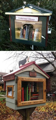 Two adorable bird house, tiny, free libraries.