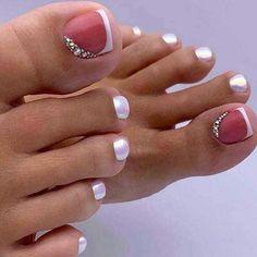 Pretty Toe Nails, Cute Toe Nails, Pretty Toes, Diy Nails, Pretty Nail Art, Toe Nail Color, Toe Nail Art, Nail Colors, Nail Nail