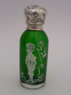 MARY GREGORY EMERALD GREEN GLASS SOLID SILVER TOP PERFUME/SCENT BOTTLE C 1880 | eBay